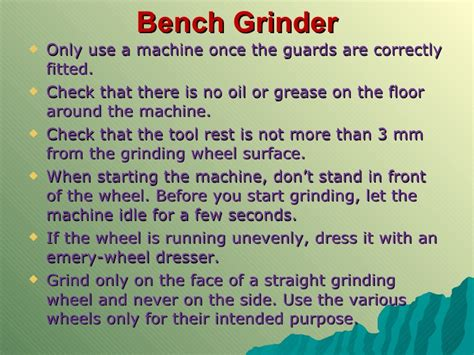 bench grinder safety rules mechanical technology grade 12 chapter 3 safety in the