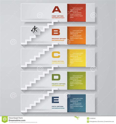 diagram steps abstract business chart 5 steps from lower to steps diagram template vector step by