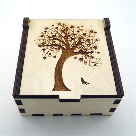 laser cut wood box template tree of jewelry box wood trinket box small jewelry