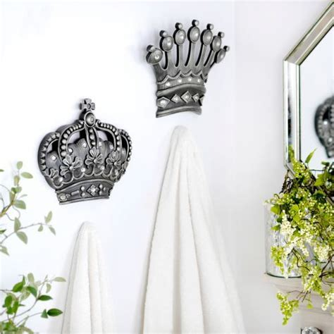 home decor wall plaques his her crown silver jeweled wall plaque set of 2 walls