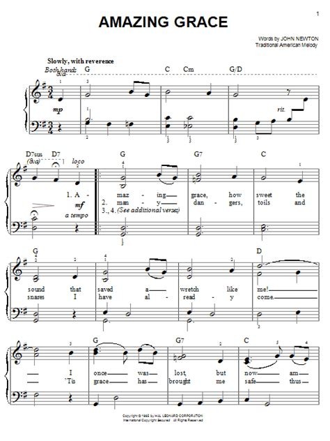 tutorial piano amazing grace amazing grace sheet music by traditional easy piano 68467