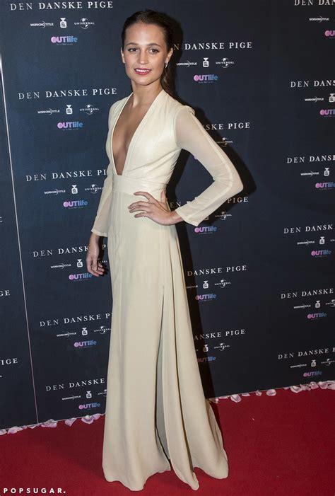 Alicia Vikander Wearing a Cream Louis Vuitton Dress   POPSUGAR Fashion