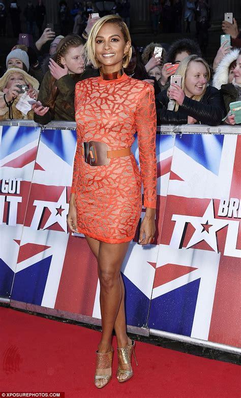 alesha dixon shows legs in tangerine dress at britain s
