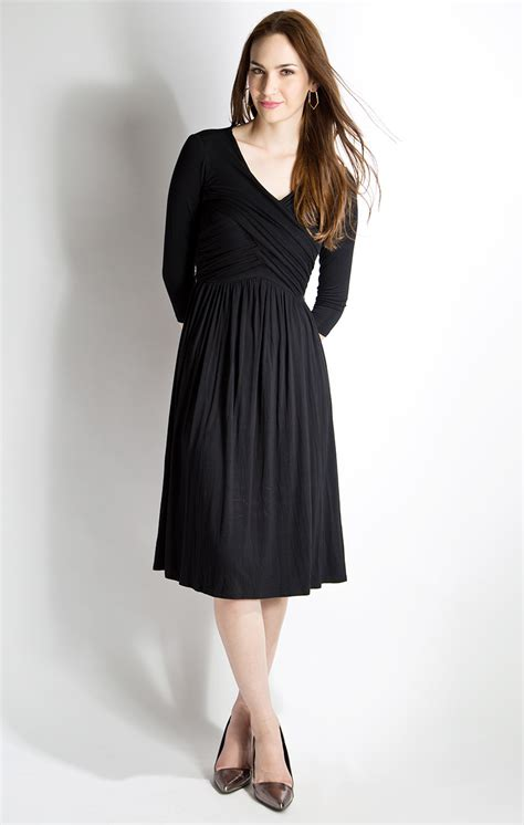 Dress In Black at midnight modest dress in black with 3 4 sleeves