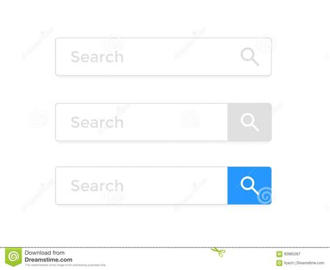 search page template search bar web page browser element vector icons