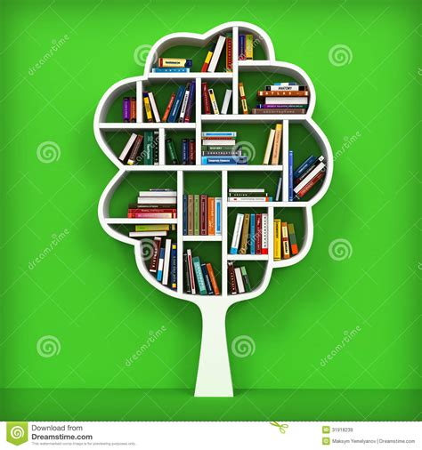 tree of knowledge bookshelf on white background royalty
