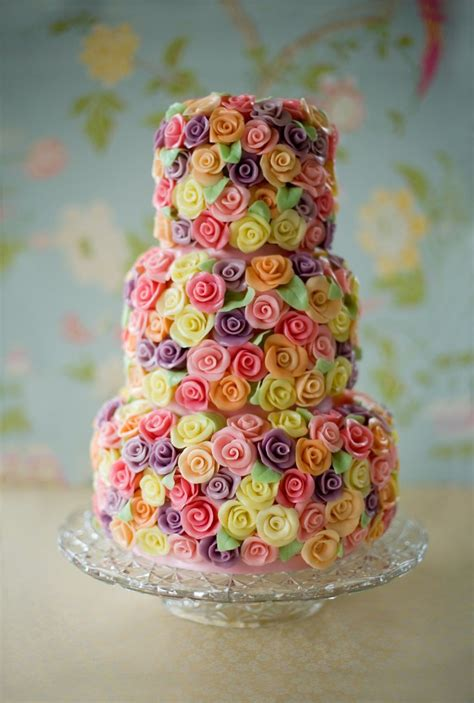 Colorful Wedding Cakes by Wedding Cakes Pictures Colorful Sugar Roses Wedding Cake