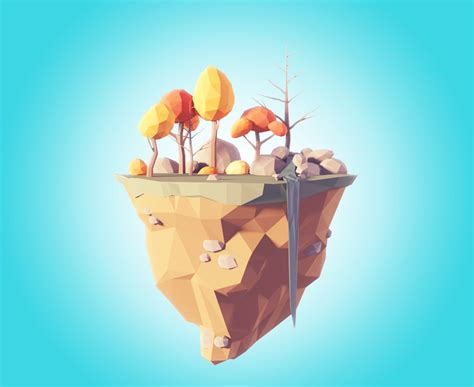 Blender Filip portal and low poly flying island blendernation