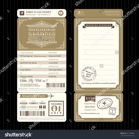 ticket style invitation template vintage style boarding pass ticket wedding stock vector