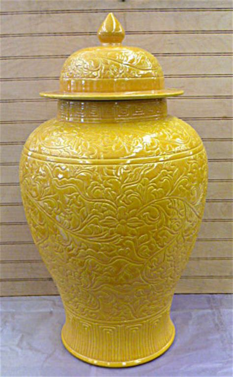 Yellow Floor Vase by Imperial Yellow Carved Floral Design Porcelain Jar
