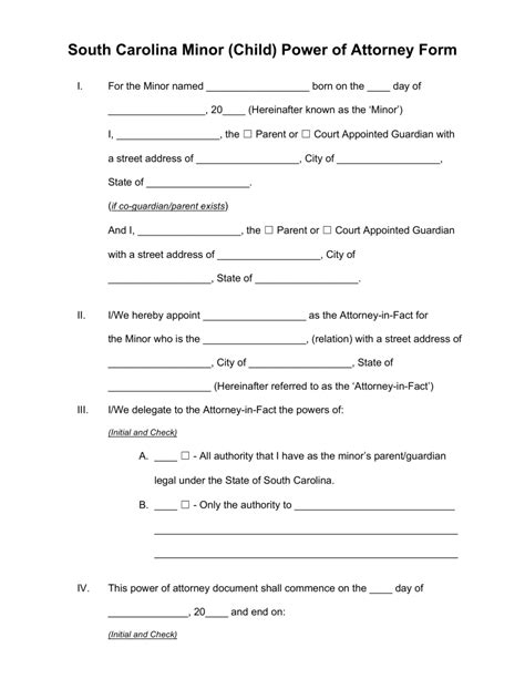 Free South Carolina Guardian Of Minor Power Of Attorney Form Pdf Word Eforms Free Carolina Will Template
