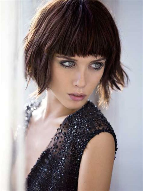 choppy bob haircut with fringe short choppy bob hair style messy layers full bangs fringe