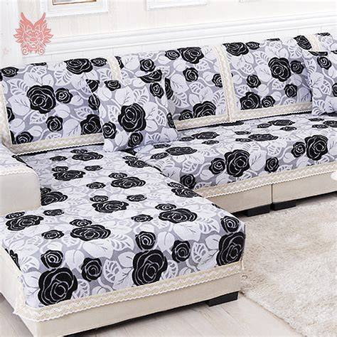 canape patchwork black white floral sofa cover poly cotton chenille