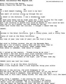Apartment Lyrics And Chords Lyrics And Chords To Hotel California