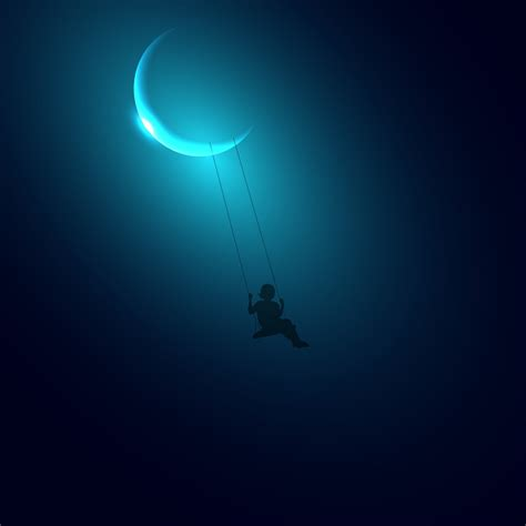 swinging on the moon little girl swinging on the moon hd wallpaper for ipad 3