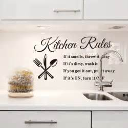 wall sticker kitchen rules stickers sayings and phrase words phrases art quote decal mural stencil