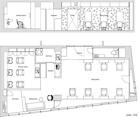 salon layout drawing ajax beauty salon in osaka japan yasunari tsukada design