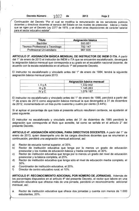 tabla salarial decreto 2277 2015 tabla salarial 2277 2016 tabla salarial 2277 2013