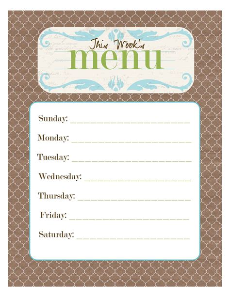 breakfast lunch and dinner menu template free printable menu smitten designs