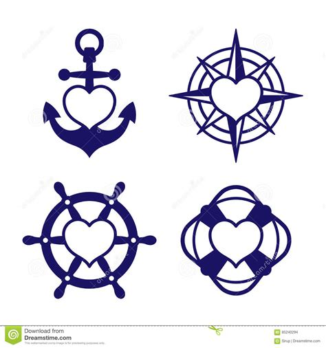 marine heart icon set of anchor and compass stock vector