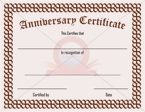 Wedding Anniversary Certificate Template by Anniversary Certificate Template Anniversary Certificate