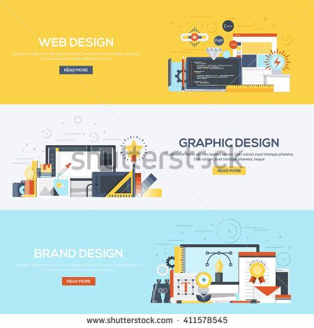 what does web layout view display set flat color design web banners stock vector 411578545