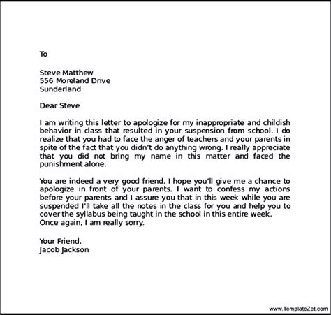 Apology Letter Parents Apology Letter To Friend After Bad Behaviour Templatezet