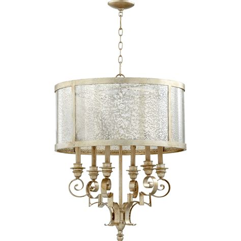 24 Inch Pendant Light Chlain Aged Silver Leaf 24 Inch Six Light Pendant