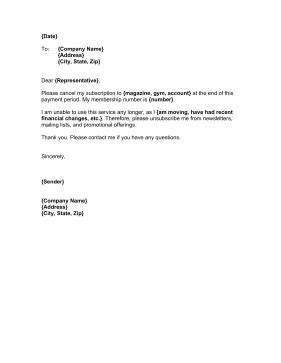 pass cancellation letter format membership cancellation letter template