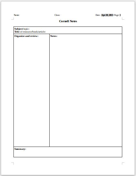 Docs Cornell Notes Template cornell notes template docs business template