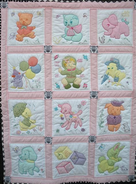 Made Baby Quilt by Crafted Vintage Baby Quilt By One Bee Llc
