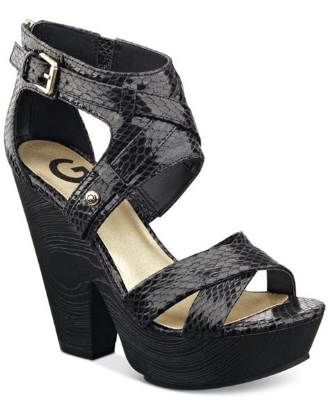 g by guess sandals g by guess sissta wooden platform sandals in black save