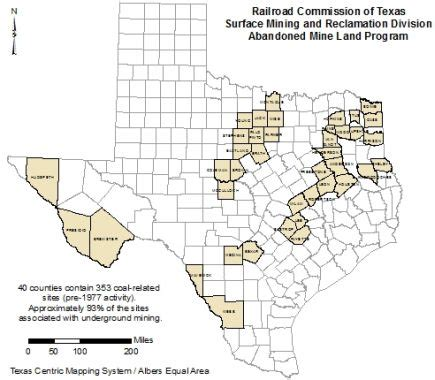 coal mines in texas map texas rrc coal mining counties