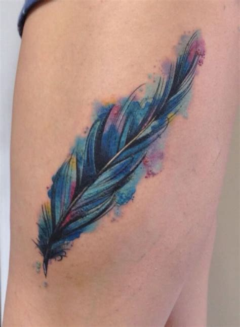 watercolor thigh tattoos 33 watercolor feather tattoos