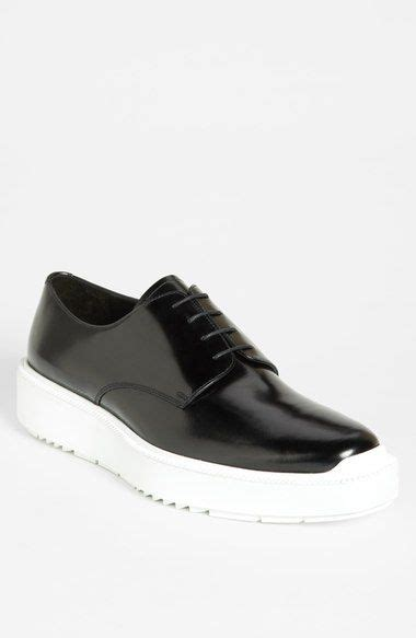 prada wedge derby shoes in shiny black leather with white chunky sole sold out my style
