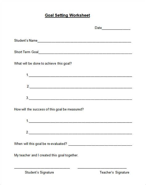 templates for goal setting 8 goal setting worksheet templates free word pdf