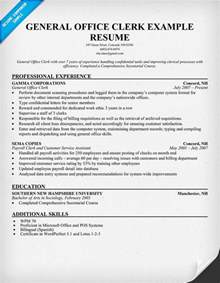 Resumes For Office by Exle Resume Office Clerk Resume Sle