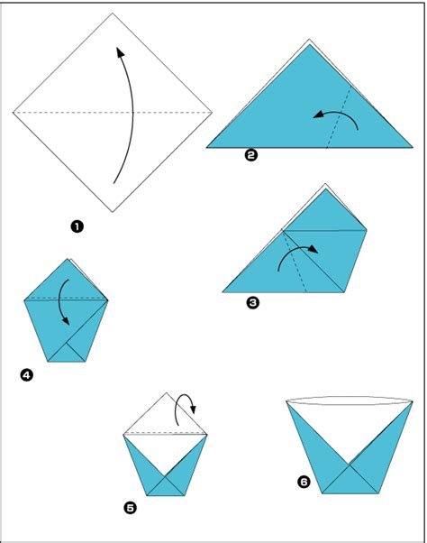 origami cup scheme of paper in the