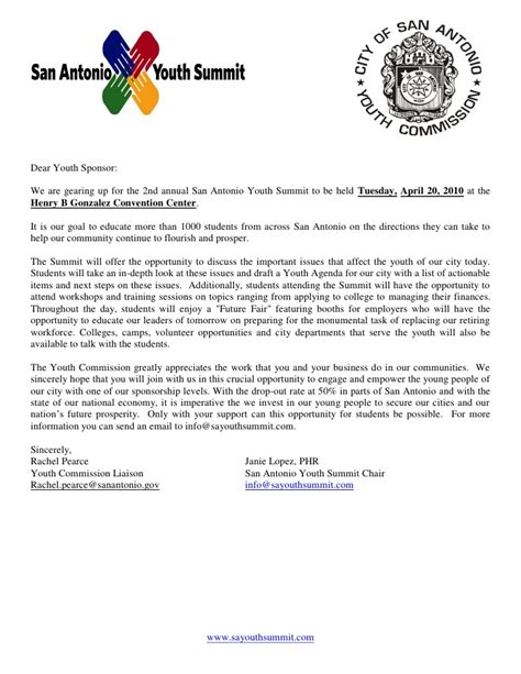 Sponsorship Letter For Youth C 2010 Sponsor Level Letter Sayc