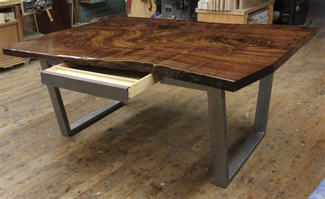 Dorset custom furniture a woodworkers photo journal a claro walnut slab desk with a secret