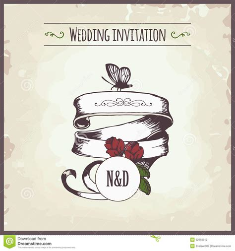 married card template wedding invitation stock vector image of frame date