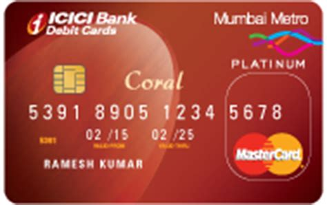 Icici Gift Card Benefits - coral debit card unifare mumbai metro debit card
