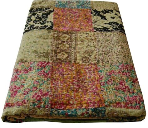 Quilts From India by Indian Kantha Quilt Lime Multi Bedding