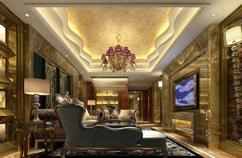Small Luxury Home Interior Luxurious Gypsum Ceiling Decoration For Villa Living Room