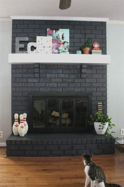 floor charcoal brick fireplace painted rock paper feather painting a fireplace before and