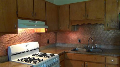 Kitchen With Tile Backsplash by Diy Penny Backsplash Youtube
