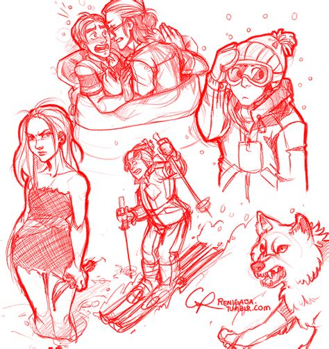 R Sketches by More Oc Sketches Featuring Skiing And Angry Wolf