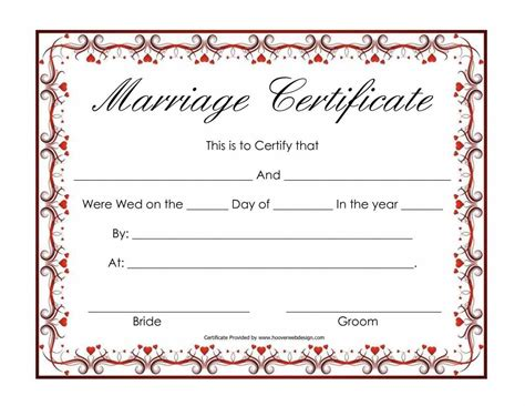 wedding certificates templates certificate templates sle marriage certificates