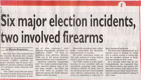 election violence in sri lanka centre for monitoring newspaper coverage on cmev operations and general election