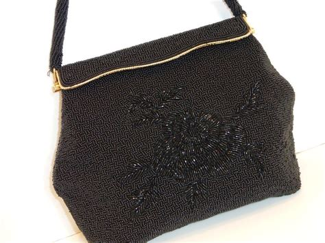 beaded evening purse vintage black beaded evening bag purse from historique on